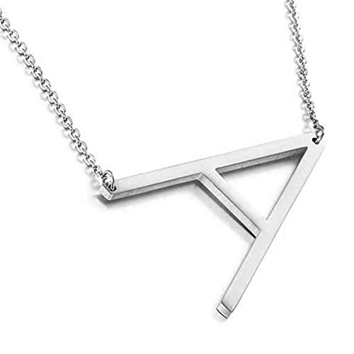 Women Fashion Elegant 26 English Letter Pendant Chain Necklace Choker for Party Holiday Jewelry Gift - Silver P