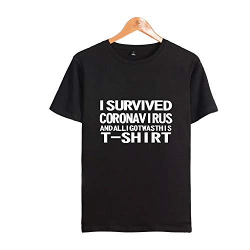 LXHcool 2020 I Survived Coron_avirus T-Shirt Wash Your Hands Shirt And All I Got Was This Funny T-shirt (Colore: Nero, Taglia: Large)
