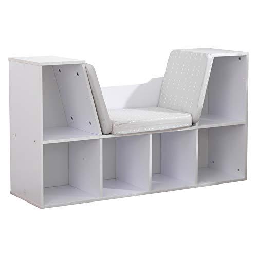 "KidKraft KKR14230 Bookcase with Reading Nook Toy, White, 46.46"" x 15.16"" x 5.04"""