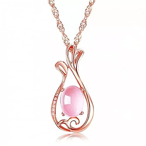 Moda Collar Joyas Gargantilla Bonito collar con colgante de jarrón de pavo real, collares con colgante de ópalo rosa de cristal, gargantillas para mujeres y niñas, joyería de cuarzo Parejas Regalos