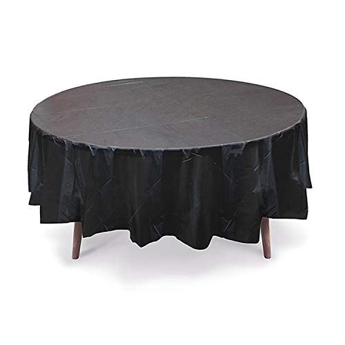 Gift Expressions Plastic Table Cloth, 12 Pack, Black, 84 Inch Round Plastic Table Covers, Reusable Waterproof Covers for Round Tables, Heavy Duty Polyester Party Supplies & Decorations