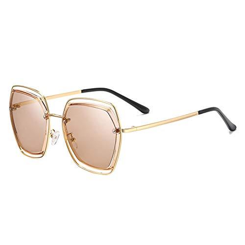 Gafas De Sol,Net Red Mismo Estilo Clásico Gran Marco Gafas De Sol Gafas De Sol De Metal Mujer, Oro Brillante/Pieza De Té T11