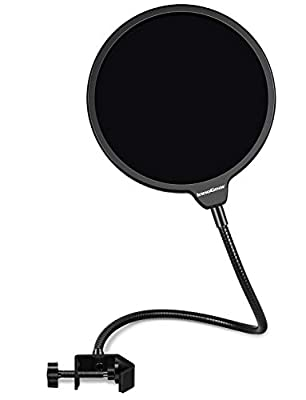 """InnoGear Microphone Pop Filter, Upgraded 6"""" Double Layer Mic Mask Shield Windscreen with Aluminum Alloy Mount and 360° Gooseneck for Blue Yeti and Any Other Microphone"""