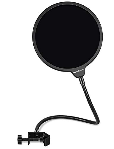 InnoGear Professional Microphone Pop Filter Mask Shield For Blue Yeti and Other Microphones, Dual Layered Wind Pop Screen with Flexible 360° Gooseneck Clip Stabilizing Arm for Recordings, Broadcasting