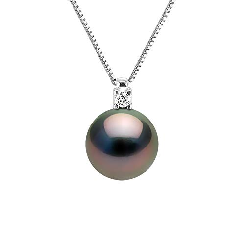 Pearls & Colors - Collana Gioielleria Vera Perla Coltivata di Tahiti Rotonda 8-9 mm - Qualita A + - Zirconi & Argento 925 - Gioiello da Donna