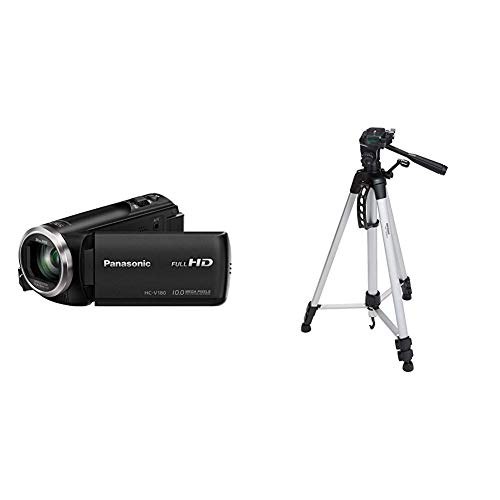 Panasonic HC-V180 Videocamera 2.51 megapixel & Amazon Basics - Treppiede leggero estensibile fino a 1,52 m, con custodia