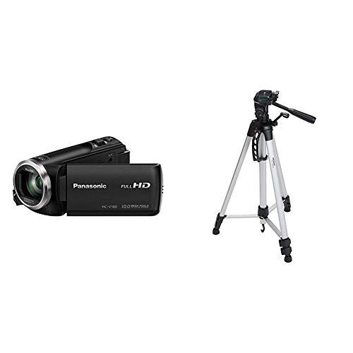 Panasonic HC-V180EG-K Full HD Camcorder,schwarz & AmazonBasics Leichtes Stativ, bis 1,52 m, inkl. Tasche, mit 3-Wege-Schwenkkopf und Wasserwaage