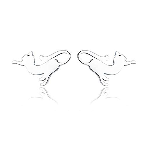High Quality 925 Sterling Silver Folding Fox Silver White Stud Jewelry Making Gifts for Lover&Mother -GXE366