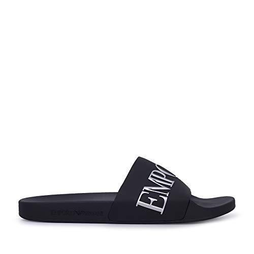 Emporio Armani Herren Schuhe plastic Shoes Beachwear Artikel X4PS04 XM291 SLIPPER PU METAL made in Italy, M596 Black + black opq + silver, EU 44 - UK 9,5 - USA 10 - CN 282/95
