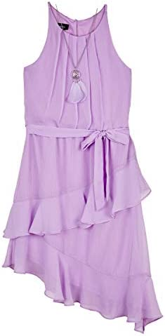 Amy Byer Girls Sleeveless Dress with Asymmetrical Hem Lavender 7 product image
