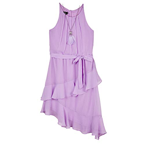 Amy Byer Girls' Sleeveless Dress with Asymmetrical Hem, Lavender, 16