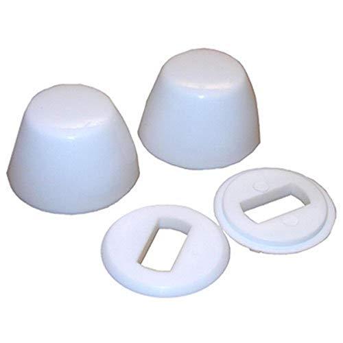 LASCO 04-3911 White Round Plastic, Universal Fit, 1-Pair Toilet Bolt Cap