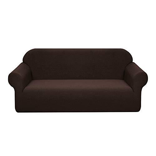 Granbest Stretch Wasserdicht Sofabezug 1 Stück Sofahusse Spandex Jacquard Elastische Couchbezug mit Anti-Rutsch-Schaumstoffe (3 Sitzer, Schokolade)