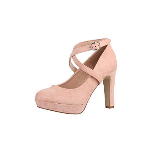 Elara Zapato de Tacón Alto con Correa Mujer Vintage Chunkyrayan Desnudo ZZ536 Wildlederoptik Nude-38