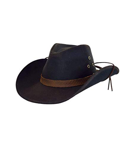Outback Trading Company Unisex 1481 Trapper UPF 50 Waterproof Breathable Outdoor Western Cotton Oilskin Hat, Brown, Large