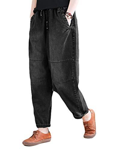 Mordenmiss Women's Harem Cropped Pants Denim Baggy Elastic Waist Pull-on Jeans (Jean Black,M)