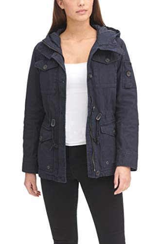 Womens Navy Blue Cotton Four Pocket Hooded Military Style Field Jacket