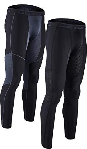 DEVOPS Men's (2 Pack) Compression Cool Dry Tights Baselayer Running Active Leggings Pants X-Large (Mesh) Black/Black