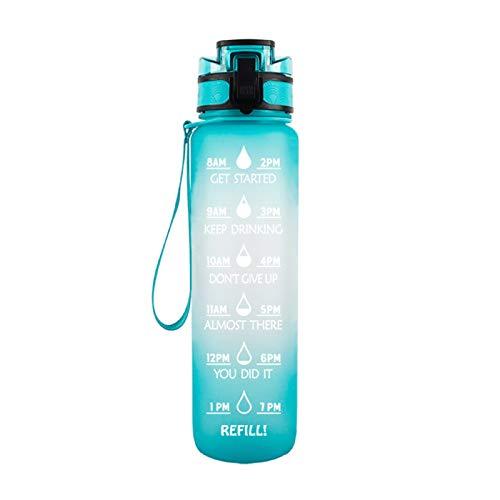 YINTE Botella De Agua Motivacional De 1000ml, Contenedor De Almacenamiento De Agua con Una Marca De Tiempo De Incentivo, Mango Helado Taza De Espacio De Agua a Prueba De F E