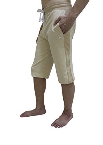 Pantalón corto de yoga para hombre, de YogaAddict. Ideal para cualquier estilo de yoga, pilates o artes marciales, incluso para uso al aire libre, hombre, beige, Large