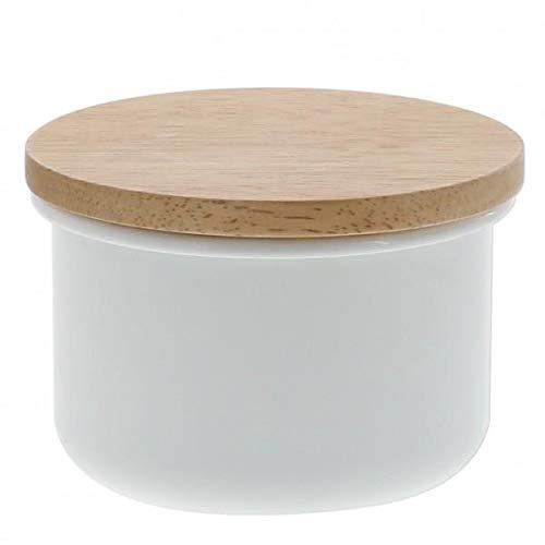 Tarro esmaltado con tapa de madera, varios tamaños