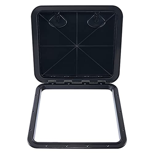 CO-Z 20x18 Inch Marine Access Hatch, Durable ABS Boat Hatch with Textured Lid 180 Hinge and Strong Recessed Handles, 17x15 Inch Opening for Boat Storage Ventilation and Machine Inspection, Black