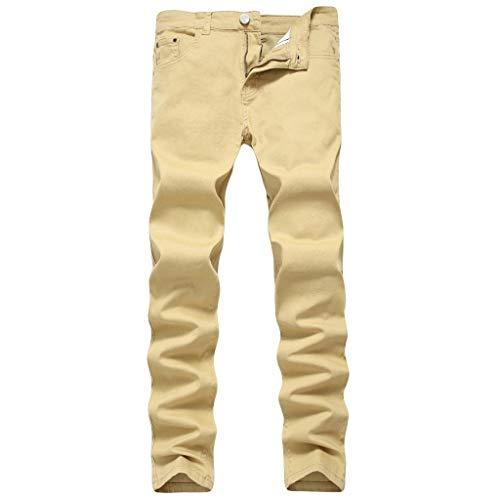 iHPH7 Jeans Men Loose Straight-Leg Jean Men Fashion Slim Fit Personality Stretchy Casual Solid Jeans Denim Pants 32 Khaki