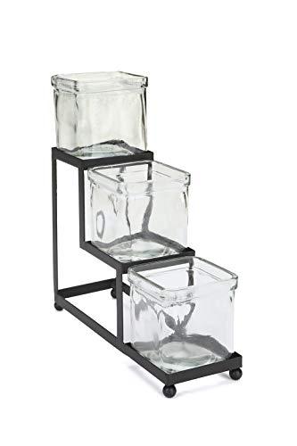 Mind Reader CONJAR3-BLK 3 Compartment Condiment Server Stand, Garnish Station for Restaurant, Bars, Removable Jars, Black, 3.03' W x 9.44' H, Clear 3 Tier