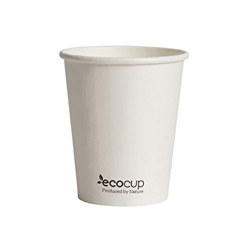 Vasos de Café Desechables, Biodegradables y Compostables- 500Uds 285ml/ 8oz -Materiales 100% Ecológicos: Cartón con Certificado FSC®, Revestimiento de Bioplástico PLA Ingeo™. Blanco