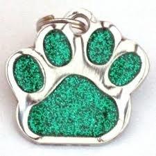 Con purpurina Mascota Etiqueta diseño de huellas de verde 26mm S/acero de Melian–MENSAJE US con TEXTO NECESARIO