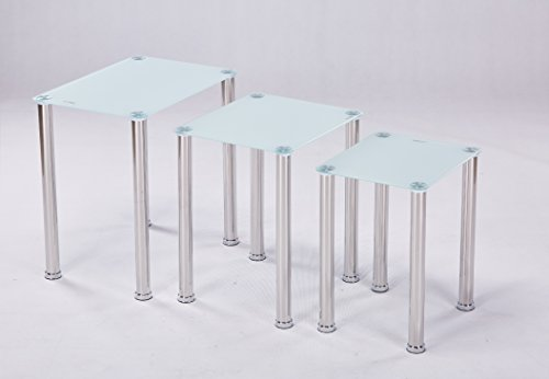 Euro Tische 3er Set Couchtisch Glas mit Sicherheitsglas - Glastisch perfekt geeignet als Beistelltisch/Wohnzimmertisch in 3 (Weiß)