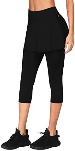 COOrun Women s Golf Tennis Skorts Flowy Yoga Legging Skirt Solid Mid Calf Skirted Black Small product image