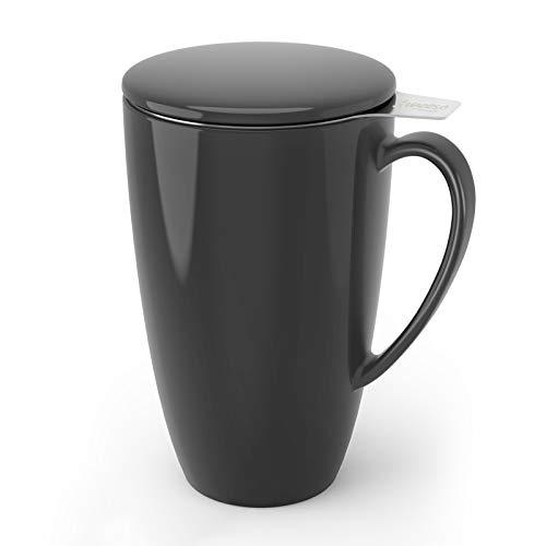 Sweese 201.113 Teetasse mit Deckel und Sieb, Becher aus Porzellan für Losen Tee Oder Beutel, Grau, 400 ml