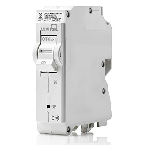 Leviton LB120-GS 20 Amp, 1-Pole Plug-on Smart GFCI Branch Circuit Breaker, 120 VAC, White