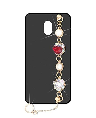 Sunrive Kompatibel mit Meizu M3 Max Hülle Silikon,Handykette Glitzer Diamant Strass Handyhülle matt Schutzhülle Etui Kette Hülle Backcover Handschlaufe(Perle) MEHRWEG