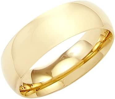 14k Solid Yellow Gold Plain Comfort Wedding Band Ring 7MM - Size 6