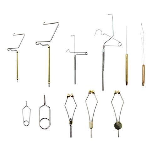 SunniMix 11 Piezas de Juego de Herramientas para Atar Moscas con alicates de alicates, Sostenedor del enhebrador del látigo, Mango, Bullet Angler Disc Bodkin,