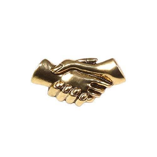 JIEERCUN Gold and Sliver Handshake Handshake Pins Coopération des Affaires Broche pour Femme Hommes Denim Chemise Badges Badges Meilleur ami Bijoux Cadeaux Broche (Color : Gold)
