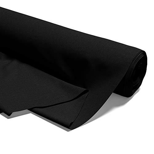 Tissu en coton au mètre - 100% coton - Tissu à coudre uni (Noir, 200 x 160 cm)