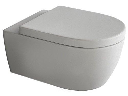 SSWW by Aqua Bagno Design Hänge Wc Spülrandlos Toilette inkl. Wc Sitz mit Softclose Absenkautomatik + Abnehmbar