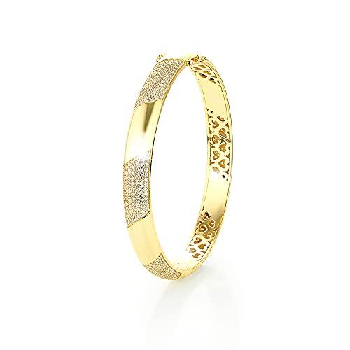 PAVELS eleganter Damen Armreif GOLDEN GLAM Armband Armreifen Armspange Armbänder gold breit Geschenkidee Zirkonia mit Zertifikat und Schmuckbox