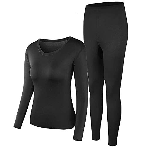 Thermal Underwear Women Ultra-Soft Long Johns Set Base Layer Skiing Winter Warm Top & Bottom Black