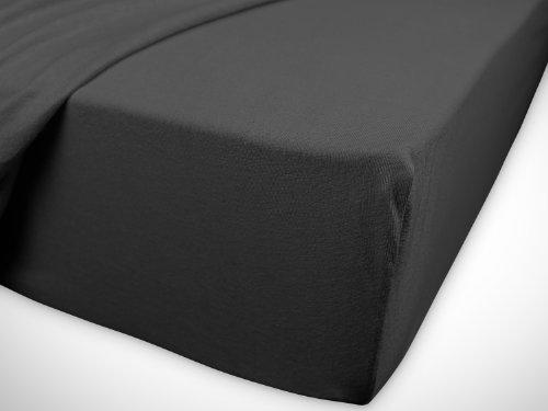klassisches Jersey Spannbetttuch – erhältlich in 22 modernen Farben und 6 verschiedenen Größen – 100% Baumwolle, 70 x 140 cm, anthrazit - 7