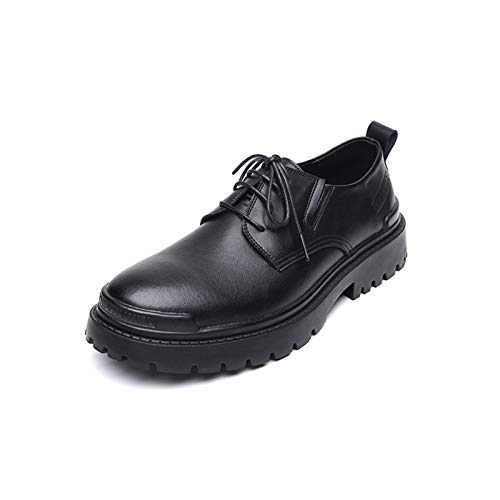 Zapatos casuales Zapatos de Oxford de los hombres, cordones clásicos de cordones, zapatos impermeables y ascensores, cuero, cabeza redonda, placa, plataforma de grifo, antideslizante