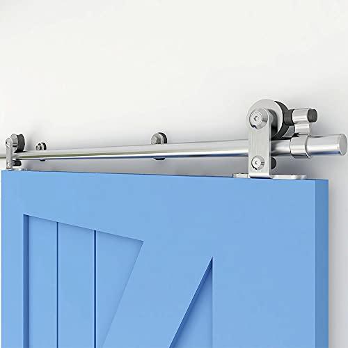 CCJH Binario per Porta Scorrevole Kit 153cm(5FT) Acciaio Inox T Montaggio Superiore Rullo Kit Per Porta Singola, Argento