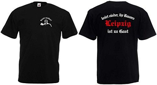 Fruit of the Loom Leipzig Ultras kniet nieder Ihr Bauern T-Shirt Unisex|schwarz-XL