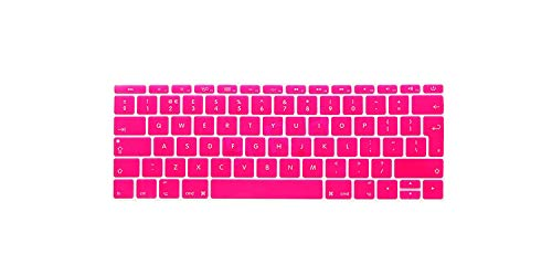 EU/UK English Silicone Keyboard Cover Skin for Mac New Pro 13' A1708 (2016 Version No Touch Bar) and for Macbook 12' A1534,Hot pink