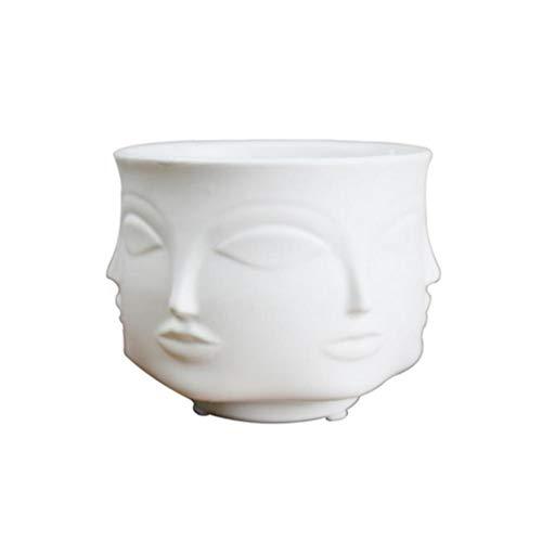 shentaotao Vasen Mann Gesichts-Blumen-Vase Home Decoration Vase Moderne Vase aus Keramik Sukkulente Kaktus Indoor Blumentopf für Blumen-Topf Pflanz White Garden Supplies