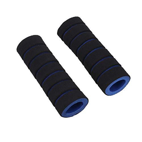 VOSAREA 2 Piezas de Manillar de Agarre Que sostienen los puños de Bloqueo Motocicleta Espuma de Espuma Esponjas de Agarre Cubierta Comfort Barra de manija de Goma Suave (Azul y Negro)
