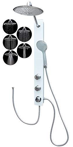 Duschpaneel Glas Dusche mit 2 Massagedüsen Weiss Regendusche Duschsystem ohne Armatur
